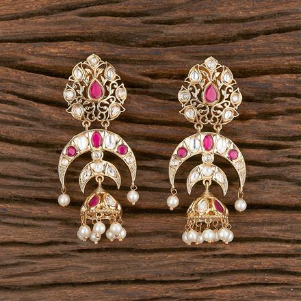 300863 Kundan Chand Earring With Gold Plating