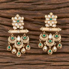 300869 Kundan Classic Earring With Gold Plating