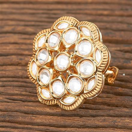 300870 Kundan Classic Ring With Gold Plating