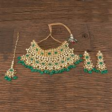 300872 Kundan Mukut Necklace With Gold Plating