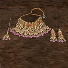 300872 Kundan Choker Necklace With Gold Plating