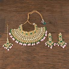 300873 Kundan Mukut Necklace With Gold Plating