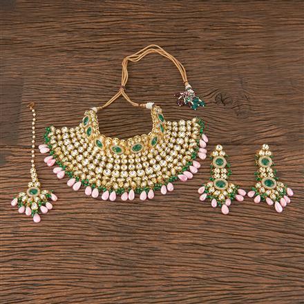 300873 Kundan Mukut Necklace With Gold Plating