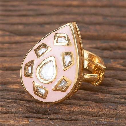 300876 Kundan Classic Ring With Gold Plating