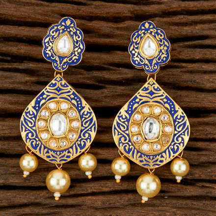 300881 Kundan Long Earring With Gold Plating