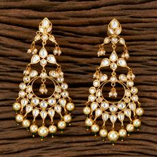 300883 Kundan Classic Earring With Gold Plating