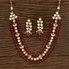 300899 Kundan Long Necklace With Gold Plating