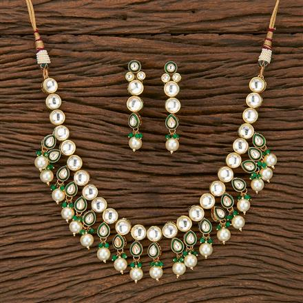 300901 Kundan Classic Necklace With Gold Plating