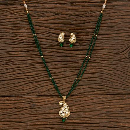 300902 Kundan Mala Pendant Set With Gold Plating