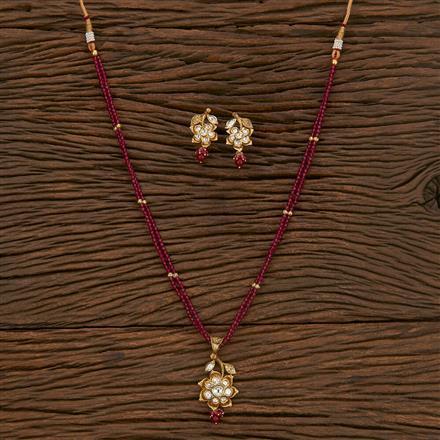 300904 Kundan Mala Pendant Set With Gold Plating