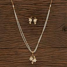 300905 Kundan Mala Pendant Set With Gold Plating