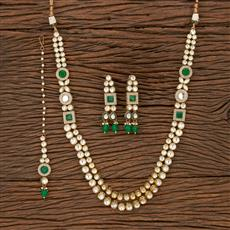 300907 Kundan Long Necklace With Gold Plating