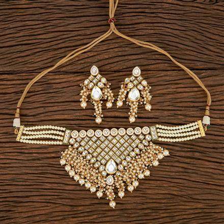 300908 Kundan Choker Necklace With Gold Plating