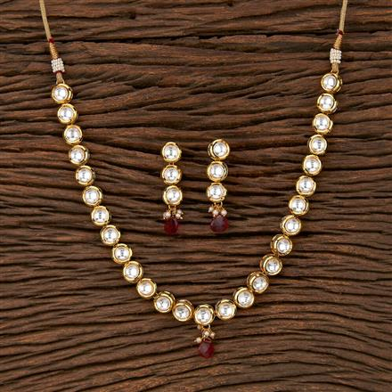 300916 Kundan Delicate Necklace With Gold Plating