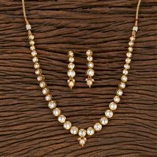 300917 Kundan Classic Necklace With Gold Plating