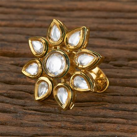 300936 Kundan Classic Ring with Gold Plating