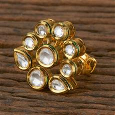 300937 Kundan Classic Ring with Gold Plating