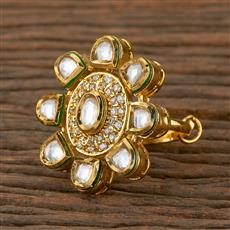 300938 Kundan Classic Ring with Gold Plating