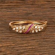 300947 Kundan Delicate Kada With Gold Plating