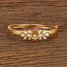 300950 Kundan Delicate Kada With Gold Plating