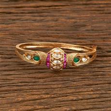 300952 Kundan Delicate Kada With Gold Plating