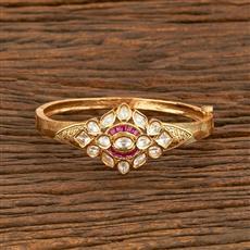 300953 Kundan Delicate Kada With Gold Plating