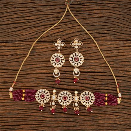 300954 Kundan Choker Necklace With Gold Plating