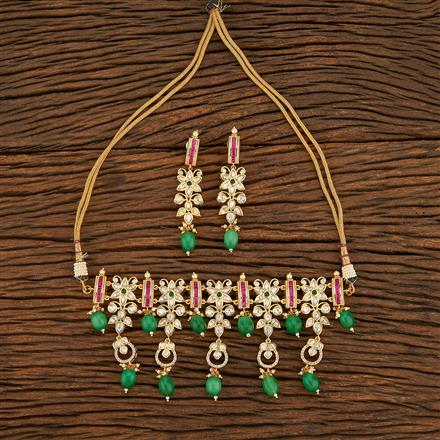 300955 Kundan Choker Necklace With Gold Plating