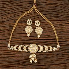 300956 Kundan Choker Necklace With Gold Plating