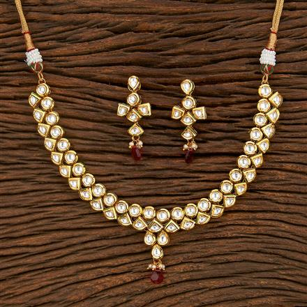 300958 Kundan Delicate Necklace With Gold Plating