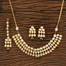 300959 Kundan Classic Necklace With Gold Plating