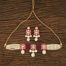 300965 Kundan Choker Necklace With Gold Plating