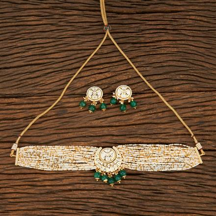 300966 Kundan Choker Necklace With Gold Plating