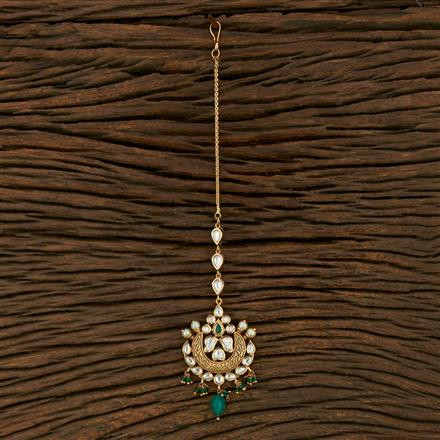 300971 Kundan Chand Tikka With Gold Plating