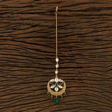300973 Kundan Chand Tikka With Gold Plating