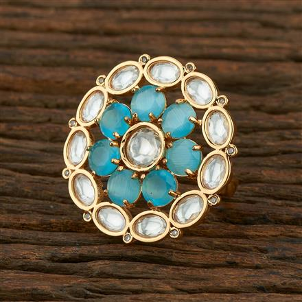 300979 Kundan Classic Ring With Gold Plating