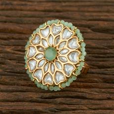 300982 Kundan Classic Ring With Gold Plating