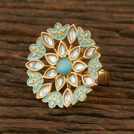 300984 Kundan Classic Ring With Gold Plating