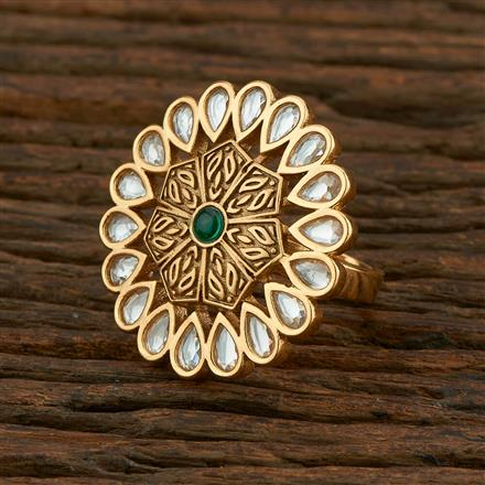 300985 Kundan Classic Ring With Gold Plating
