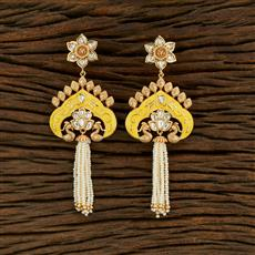 301009 Kundan Peacock Earring With Gold Plating