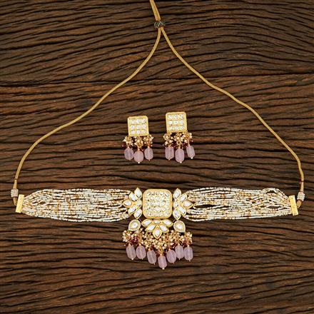 301010 Kundan Choker Necklace With Gold Plating