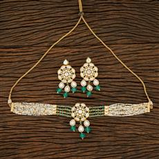 301012 Kundan Choker Necklace With Gold Plating