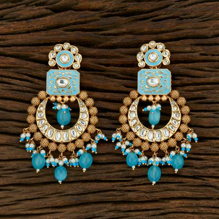 301015 Kundan Chand Earring With Gold Plating