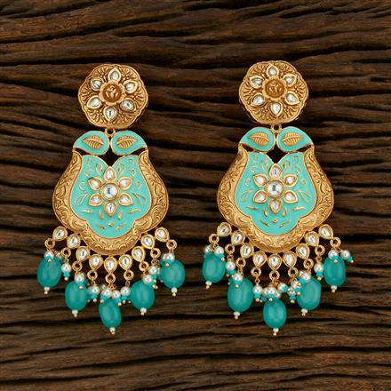 301016 Kundan Long Earring With Gold Plating