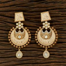 301017 Kundan Chand Earring With Gold Plating