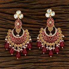 301018 Kundan Chand Earring With Gold Plating
