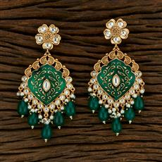 301020 Kundan Long Earring With Gold Plating