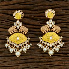 301021 Kundan Long Earring With Gold Plating