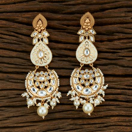 301022 Kundan Long Earring With Gold Plating