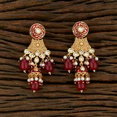 301023 Kundan Delicate Earring With Gold Plating